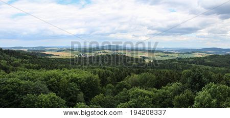 Panoramatic View From Castle Tower To Czech Landscape.