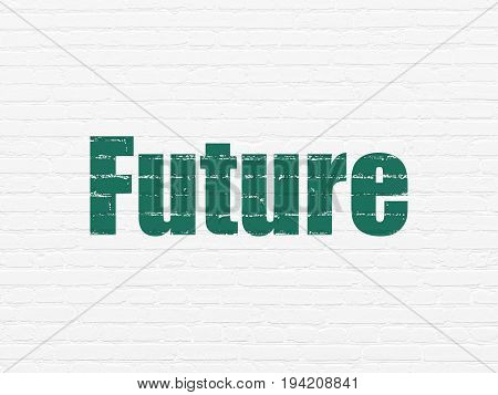 Time concept: Painted green text Future on White Brick wall background