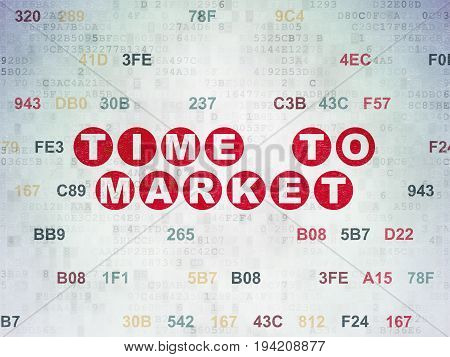 Time concept: Painted red text Time to Market on Digital Data Paper background with Hexadecimal Code
