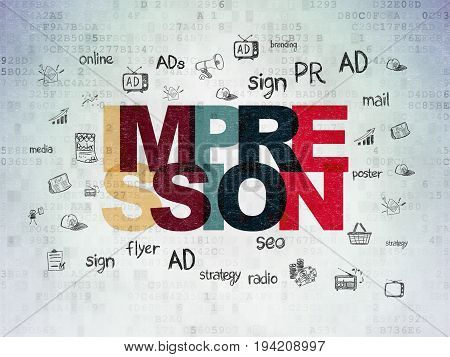 Marketing concept: Painted multicolor text Impression on Digital Data Paper background with  Hand Drawn Marketing Icons