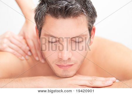 Man relaxing comfort getting neck back massage