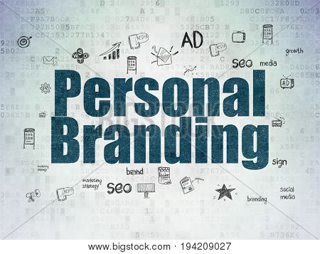 Advertising concept: Painted blue text Personal Branding on Digital Data Paper background with  Hand Drawn Marketing Icons