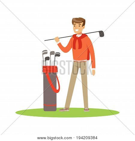 Golf player in a blue pullover standing with a bag of golf clubs vector Illustration isolated on a white background