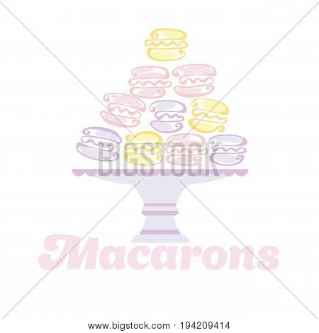 pale color macaron pyramid on the plate. vector illustration