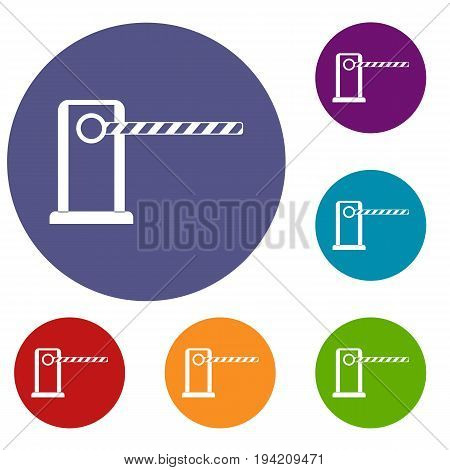 Parking entrance icons set in flat circle reb, blue and green color for web