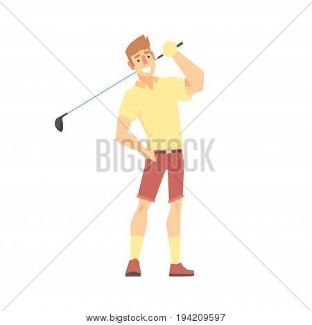 Smiling cartoon golf palyer character standing with golf club vector Illustration isolated on a white background