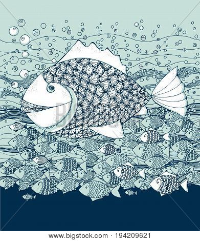 marine life little fish in decorative style. hand drawn vector illustration.