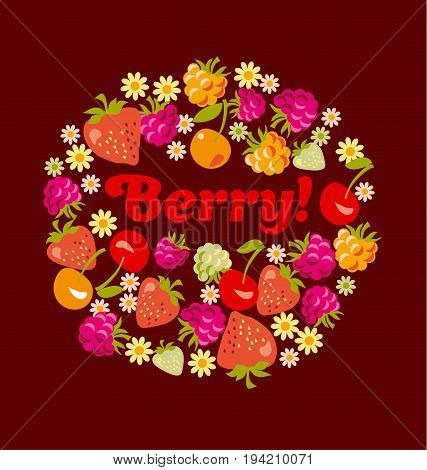 red assorted red berry set. vector illustration.