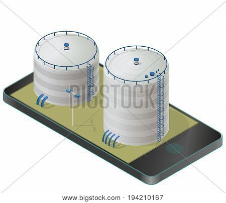 Big water reservoir in mobile phone. White water supply resource. Pictogram industrial chemistry cleaner set with blue details. Water reservoir isometric building info graphic. Isolated vector icon.