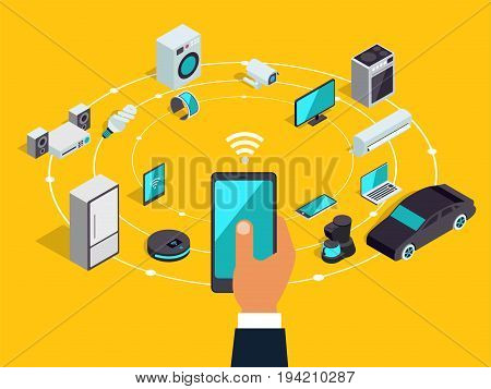 Internet Of Things Layout. Iot Online Synchronization And Connection Via Smartphone Wireless Technol