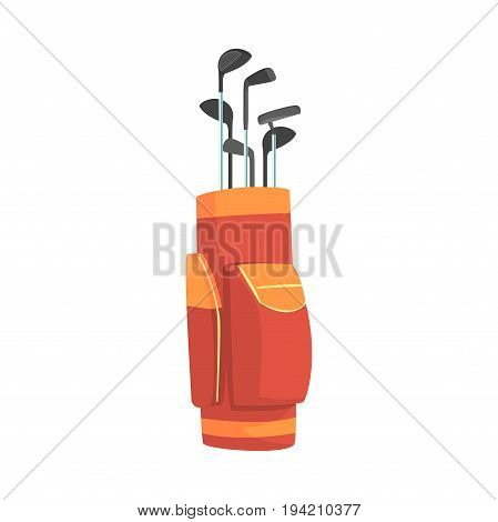 Red and orange golf bag full of clubs, golfer sport equipment vector Illustration isolated on a white background