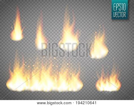Fire flames isolated on transparent background. Realistic special effect. Vector illustration