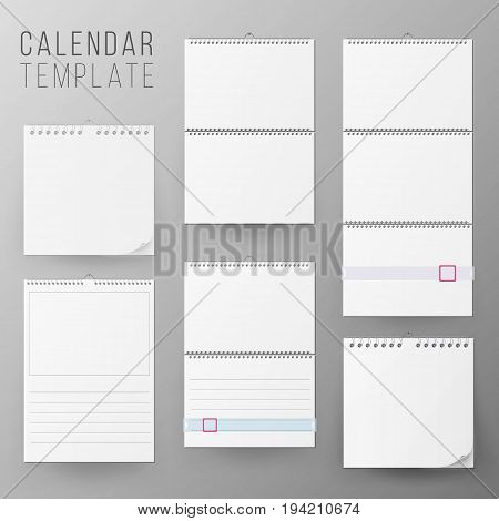 Calendar Template Set Vector. Realistic Calendar Blank Hanging On A Wall. Blank Office Calendar Mock Up. Realistic Sheets Of Paper. Empty Mock Up. Vector