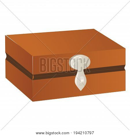 Wooden chest with silver trim and lock isolated on a white background. Vector