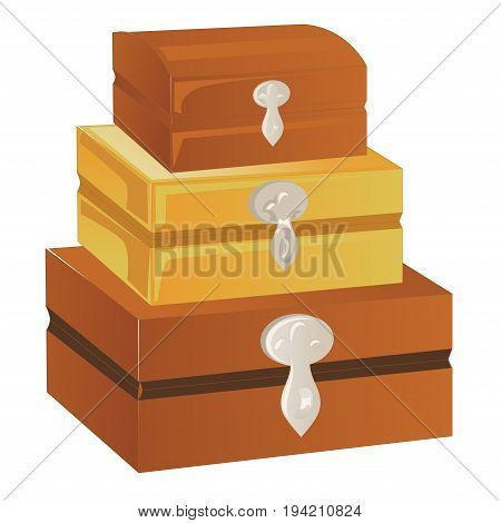 Three wooden chest of different sizes with silver trim and lock isolated on a white background. Vector