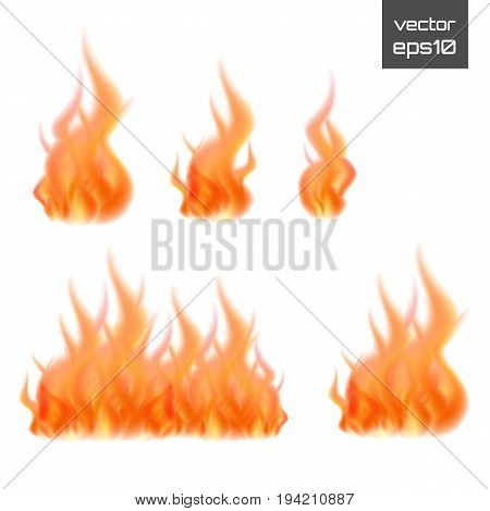 Set of fire flames isolated on white background. Vector realistic special effect