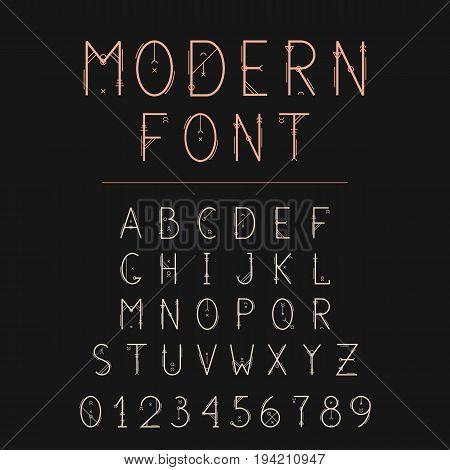 Sacred font geometry alphabet. Geometric typeface with decorative elements.