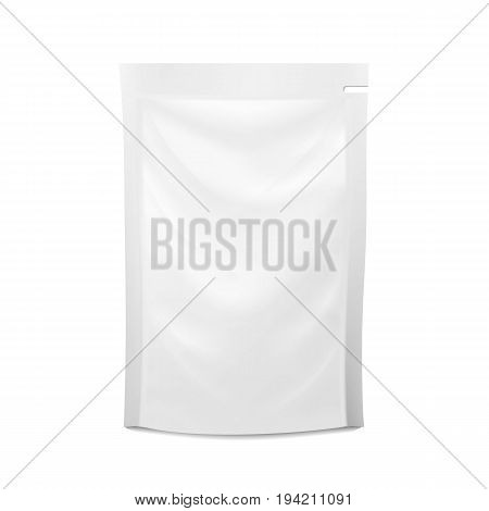 White Blank Plastic Spouted Pouch. Vector Doypack Food Bag Packaging. Template For Puree, Beverage, Cosmetics. Packaging Design. Vector Isolated