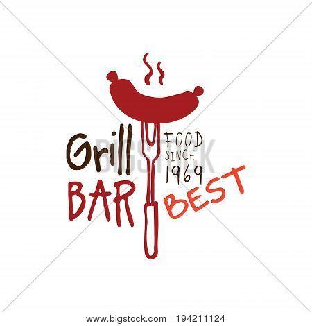 Greel bar, food since 1969 logo template hand drawn colorful vector Illustration for menu, restaurant, cafe, bistro