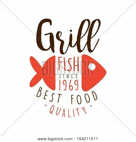 Grill fish since 1969 logo template hand drawn colorful vector Illustration for menu, restaurant, cafe, bistro