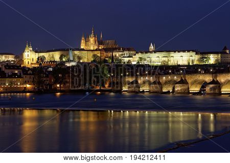 Prague ,view of the Charles Bridge (Karluv Most) at dusk, Czech Republic.