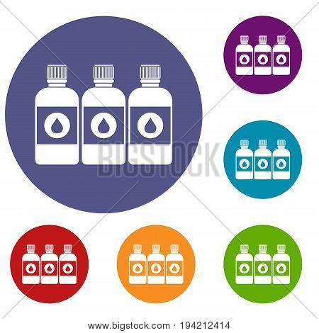 Printer ink bottles icons set in flat circle reb, blue and green color for web