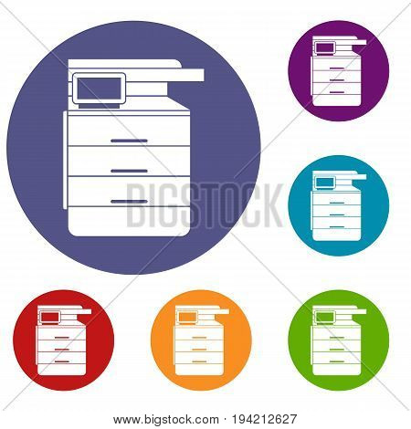 Multipurpose device, fax, copier and scanner icons set in flat circle reb, blue and green color for web