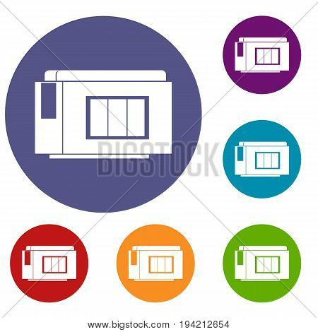 Inkjet printer cartridge icons set in flat circle reb, blue and green color for web