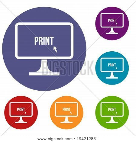 Print word on a computer monitor icons set in flat circle reb, blue and green color for web