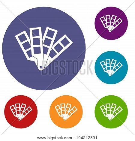 Color palette guide icons set in flat circle reb, blue and green color for web