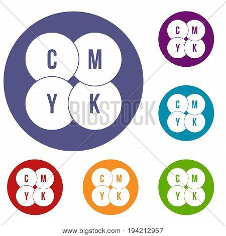 CMYK circles icons set in flat circle reb, blue and green color for web