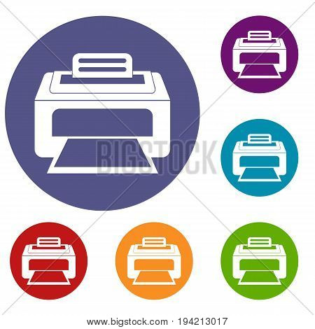 Modern laser printer icons set in flat circle reb, blue and green color for web
