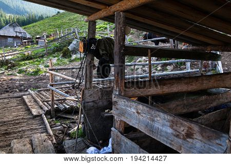 Empty cowsheds on the farm in the Ukrainian Carpathians.