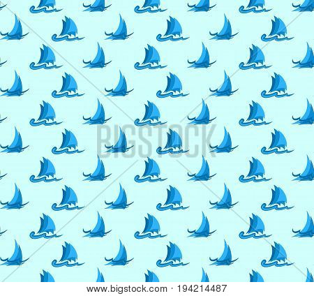 Seamless background with sailing vessels in the sea.