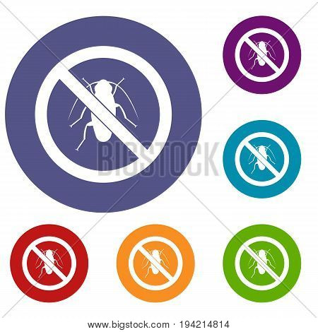 No cockroach sign icons set in flat circle reb, blue and green color for web