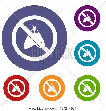 No moth sign icons set in flat circle reb, blue and green color for web
