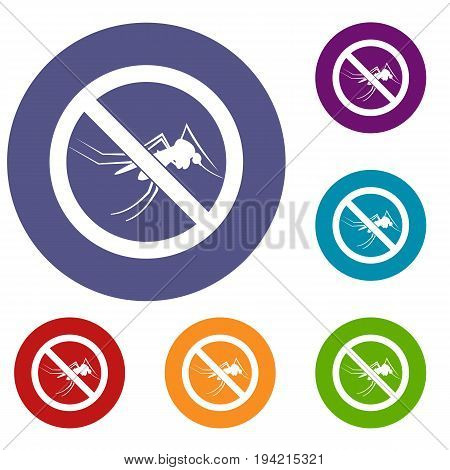 No mosquito sign icons set in flat circle reb, blue and green color for web