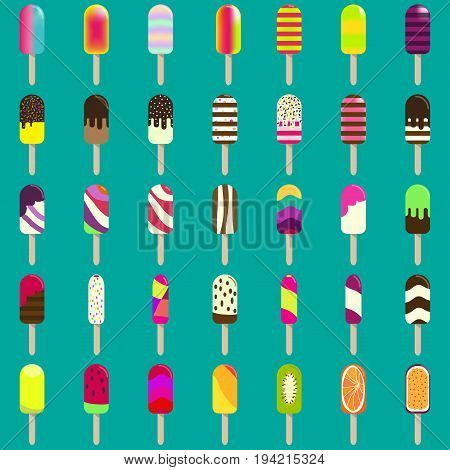 Ice cream collection for your design. Big set of ice lollies with different toppings. Vector design for wallpaper, wrapping, fabric, background, apparel, prints, banners