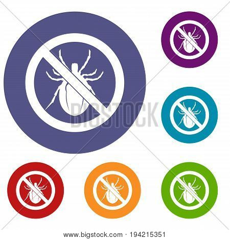 No bug sign icons set in flat circle reb, blue and green color for web