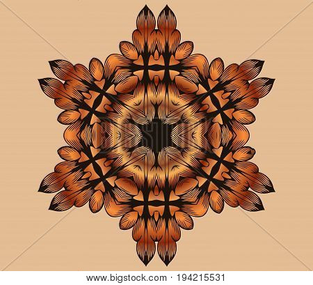 tracery on an abstract symmetrical mandala oriental pattern on a light background antique rococo style decorative design