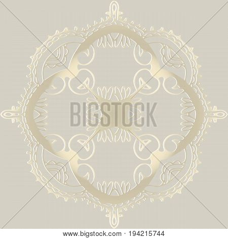 abstract tracery victorian pattern retro round shape on a light background antique rococo style decorative design