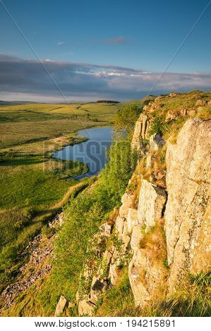 Highshield Crags below Hadrian's Wall, which is a World Heritage Site in the beautiful Northumberland National Park. Popular with walkers along the Hadrian's Wall Path and Pennine Way