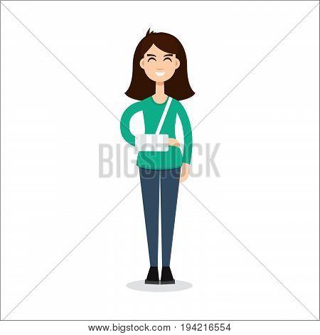 broken arm girl, trauma, injury. Vector illustration