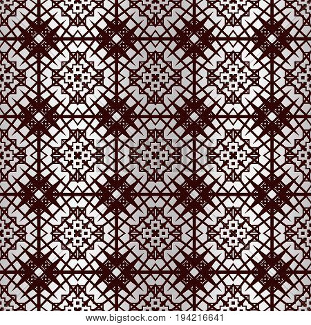 Outline of a seamless gray abstract pattern with repeated geometric square figures. Ornamental abstract background.