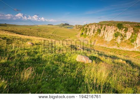 Steel Rigg and Peel Crags, below Hadrian's Wall which is a World Heritage Site in the beautiful Northumberland National Park. Popular with walkers along the Hadrian's Wall Path and Pennine Way