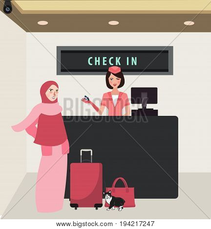 girl woman check in airline flight front desk travel wearing veil bring baggage vector