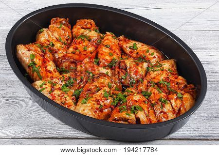 Raw Juicy Chicken Wings Marinated For Roast