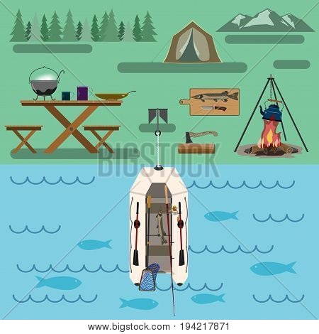 A healthy lifestyle in accordance with nature and law A set of accessories with a boat for traveling through the forest and rivers. For active and nature-loving people. Flat drawing.