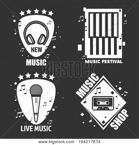 Music festival or shop logo templates. Vector isolated labels of headphones, loudspeaker or microphone with notes and cassette for musical recording company or studio live concert