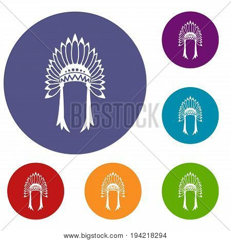 Indian headdress icons set in flat circle reb, blue and green color for web